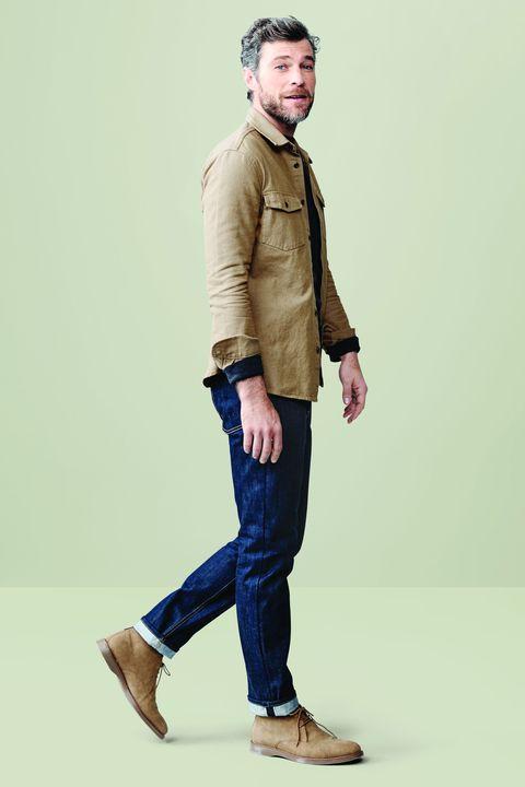 Clothing, Standing, Jeans, Blue, Denim, Khaki, Shoulder, Fashion, Brown, Footwear,