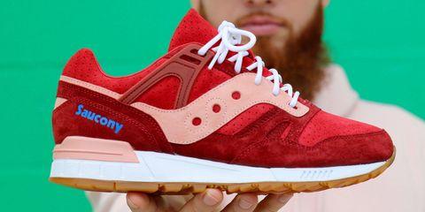 Footwear, Shoe, Sneakers, White, Outdoor shoe, Red, Walking shoe, Carmine, Athletic shoe, Skate shoe,