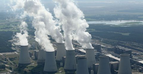 Pollution, Power station, Nuclear power plant, Technology, Smoke, Industry, Cooling tower, Aerial photography,