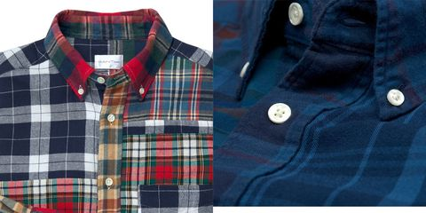 Blue, Plaid, Product, Dress shirt, Collar, Tartan, Sleeve, Pattern, Red, Textile,