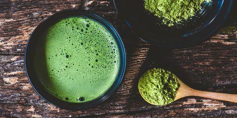 Matcha, Green, Vegetable juice, Superfood, Aojiru, Food, Green sauce, Plant, Drink,