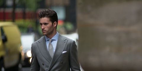 Coat, Dress shirt, Trousers, Collar, Suit trousers, Shirt, Suit, Outerwear, Standing, Formal wear,