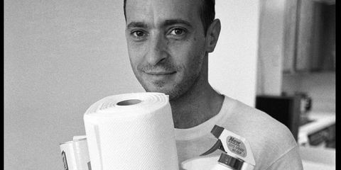 Ear, Jaw, Toilet paper, Household supply, Paper, Paper towel, Paper product, Tissue paper, Facial hair, Cylinder,