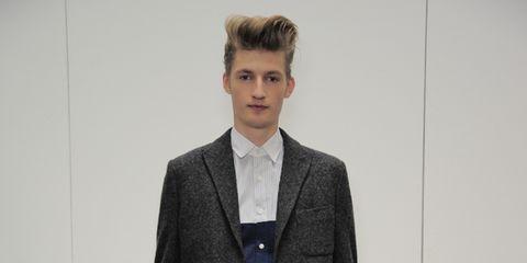 Collar, Sleeve, Shoulder, Dress shirt, Standing, Joint, Outerwear, Coat, Style, Pocket,