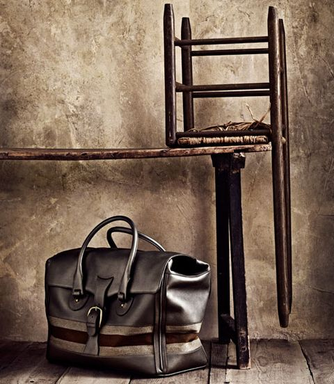 Brown, Bag, Style, Iron, Luggage and bags, Metal, Shoulder bag, Leather, Still life photography, Monochrome,