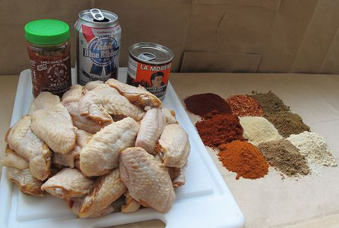 chicken wings beer chili sauce chipotle peppers