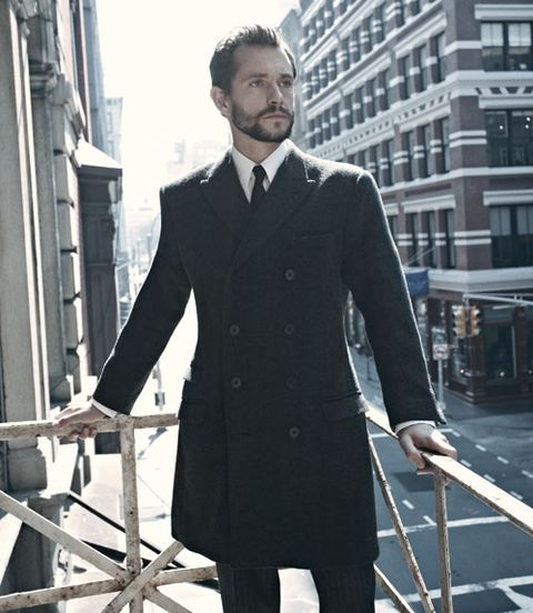 Dress shirt, Collar, Sleeve, Coat, Standing, Outerwear, Formal wear, Style, Facial hair, Street fashion,
