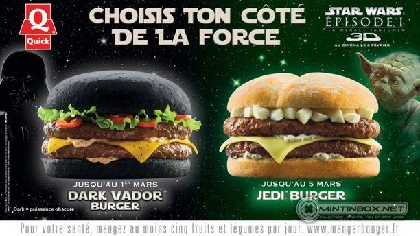 Darth Vader Burger France Quick Black Hamburger Bun - Black hamburger