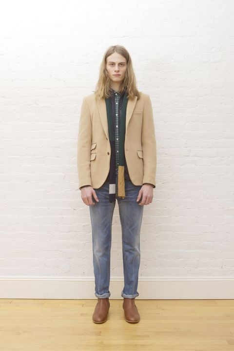 Clothing, Brown, Sleeve, Trousers, Denim, Jeans, Textile, Shoe, Collar, Joint,