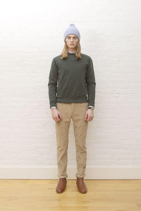 Brown, Wood, Sleeve, Human body, Khaki, Joint, Outerwear, Standing, Cap, Floor,