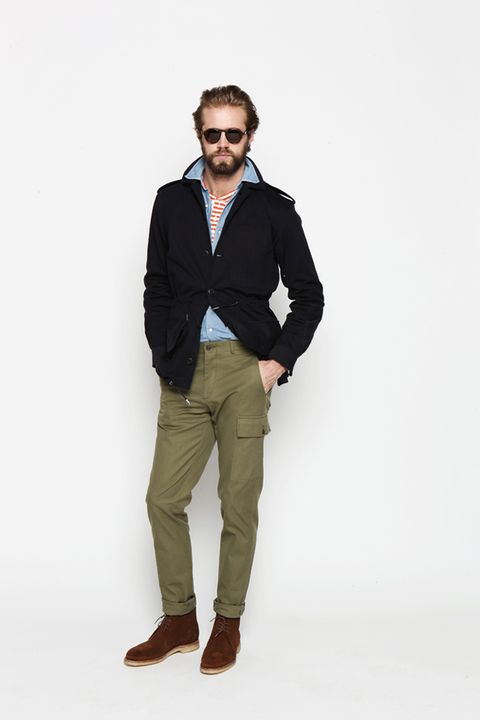 Clothing, Brown, Collar, Sleeve, Trousers, Human body, Shoulder, Dress shirt, Shirt, Sunglasses,