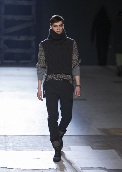 Clothing, Brown, Trousers, Joint, Outerwear, Winter, Standing, Fashion show, Style, Street fashion,