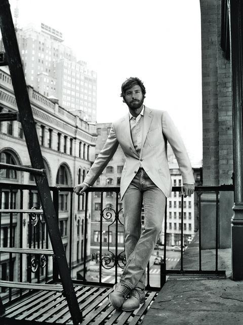 Monochrome, Standing, White, Style, Collar, Monochrome photography, Black-and-white, Street fashion, Blazer, Denim,