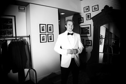 Photograph, Collar, Dress shirt, Standing, Room, Suit trousers, Monochrome photography, Monochrome, Picture frame, Black-and-white,