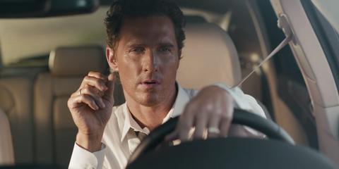 Nose, Finger, Dress shirt, Eyebrow, Jaw, Wrist, Black hair, Vehicle door, Car seat, Head restraint,