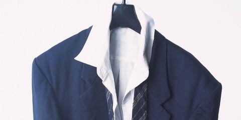Clothing, Collar, Sleeve, Dress shirt, Textile, Formal wear, Blazer, Fashion, Electric blue, Cobalt blue,