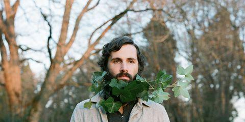 Human, Facial hair, Dress shirt, Collar, Moustache, Leaf, Beard, People in nature, Button, Portrait,