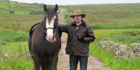 Human, Hat, Horse, Working animal, Horse supplies, Vertebrate, Mammal, Rural area, Plain, Grassland,