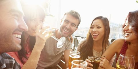 Face, Smile, Mouth, Drink, Alcoholic beverage, Alcohol, Barware, Beer, Drinkware, Happy,