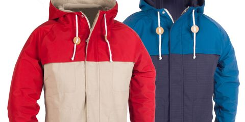 Blue, Product, Sleeve, Textile, Text, Outerwear, Red, White, Collar, Jacket,