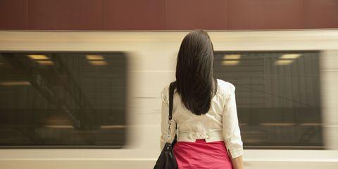 Brown, Trousers, Jeans, Denim, Transport, Bag, Back, Tints and shades, Public transport, Khaki,