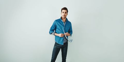 Collar, Sleeve, Trousers, Denim, Dress shirt, Shoulder, Jeans, Shirt, Standing, Elbow,