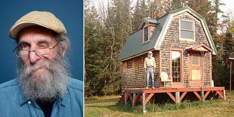 Cap, Human, Glasses, Wood, Facial hair, House, Beard, Moustache, Log cabin, Roof,