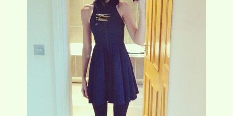 Sleeve, Waist, Knee, Thigh, Street fashion, Long hair, Boot, One-piece garment, Day dress, Fashion model,