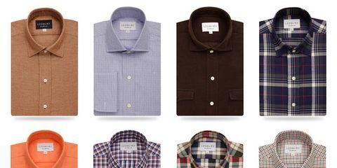 Blue, Product, Brown, Dress shirt, Pattern, Collar, Sleeve, Textile, White, Plaid,
