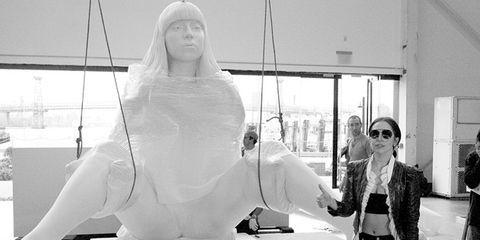 Sunglasses, Veil, Bridal veil, Sculpture, Transparent material,