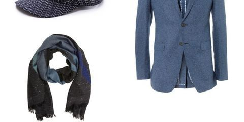 Blue, Product, Collar, Sleeve, Coat, Textile, Outerwear, Pattern, Blazer, Costume accessory,