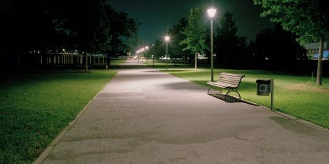 Street light, Bench, Public space, Outdoor bench, Light, Park, Street furniture, Sunlight, Outdoor furniture, Tints and shades,