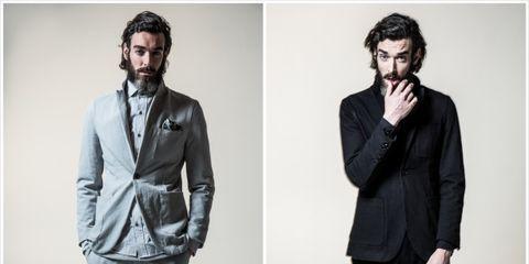 Collar, Sleeve, Shoulder, Facial hair, Dress shirt, Standing, Textile, Photograph, Outerwear, Formal wear,