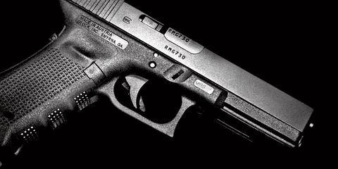 Gun, Firearm, Trigger, Line, Black, Tan, Air gun, Gun accessory, Everyday carry, Gun barrel,
