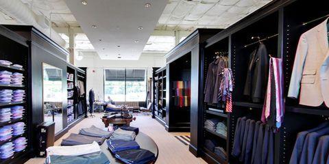 Room, Interior design, Ceiling, Clothes hanger, Interior design, Television, Space, Hall, Closet, Desk,