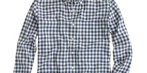 Clothing, Blue, Product, Dress shirt, Collar, Sleeve, Pattern, Textile, White, Plaid,