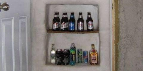 Liquid, Product, Brown, Bottle, Glass bottle, Drink, Alcohol, Wall, Drinkware, Shelving,