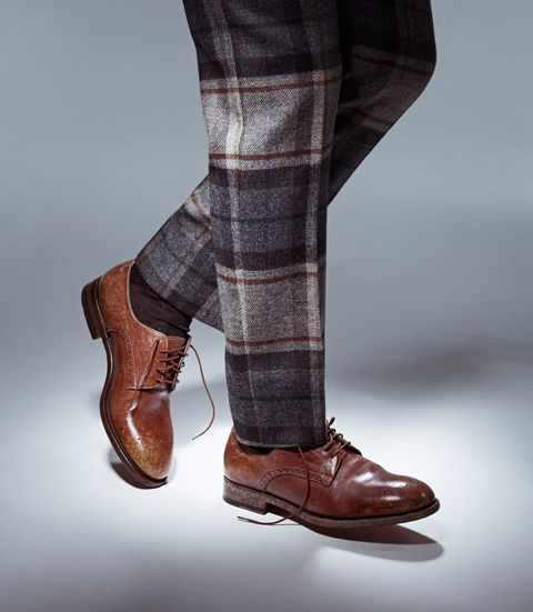 Clothing, Footwear, Brown, Human leg, Shoe, Textile, Joint, Plaid, Tartan, Pattern,