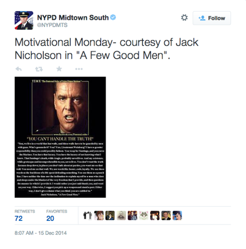 Few Good Men Quotes Classy NYPD Tweets Jack Nicholson Quote From 'A Few Good Men' NYPD