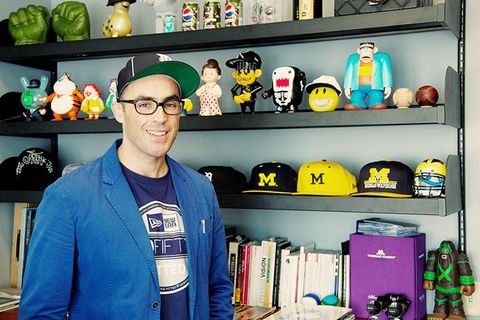 Glasses, Shelf, Shelving, Headgear, Collection, Toy, Cobalt blue, Baseball cap, Baggage, Paint,