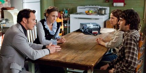 Arm, Table, Sitting, Furniture, Kitchen appliance, Plaid, Conversation, Small appliance, Oven, Tie,