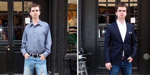 Clothing, Denim, Trousers, Jeans, Dress shirt, Textile, Shirt, Standing, Outerwear, Collar,