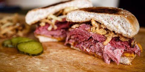 Food, Pastrami, Finger food, Baked goods, Snack, Ingredient, Cuisine, Pork, Sandwich, Breakfast,