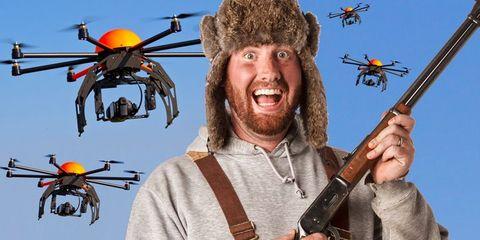 Facial hair, Orange, Shotgun, Aircraft, Costume accessory, Air gun, Beard, Drone, String instrument, Costume,
