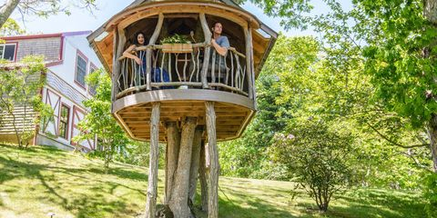 Wood, Tree house, Outdoor structure, Yard,
