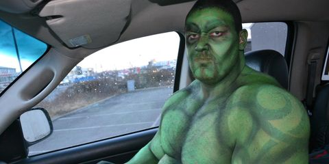 Automotive mirror, Glass, Fictional character, Vehicle door, Windshield, Muscle, Rear-view mirror, Hulk, Automotive window part, Chest,