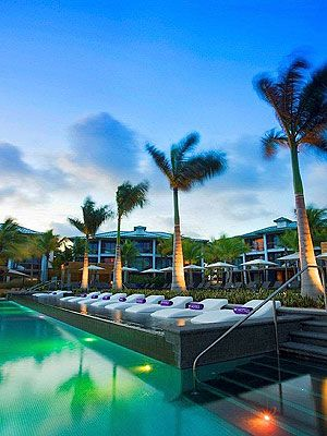 Swimming pool, Tree, Resort, Arecales, Real estate, Woody plant, Resort town, Sunlounger, Outdoor furniture, Reflection,
