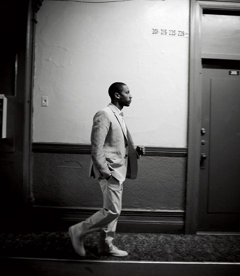 Standing, White, Style, Suit trousers, Monochrome, Blazer, Black, Monochrome photography, Black-and-white, Door,