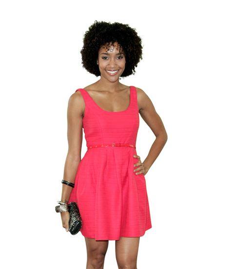 Hairstyle, Shoulder, Dress, Jheri curl, Red, Afro, Style, One-piece garment, Waist, Magenta,