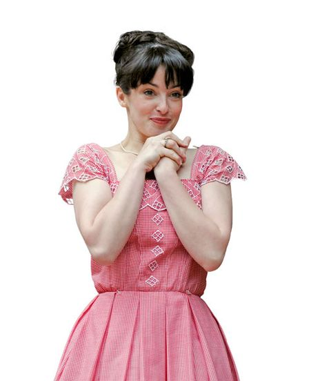 Hairstyle, Shoulder, Dress, Style, Pink, Formal wear, One-piece garment, Day dress, Eyelash, Fashion,